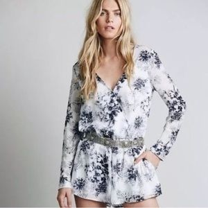 Free People Blue and White Floral Romper